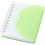 A7 wiro notebook with green fold-over cover