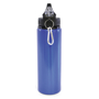 Blue metal drinking bottle with flip down straw and carabiner hook