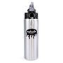 Silver 800ml sports bottle with black lid advertising a company logo