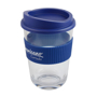 Company logo printed to the blue grip of a clear drinking cup, with matching blue lid