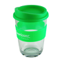 Reusable coffee cup in clear, with silicone grip and lid in green