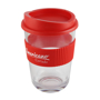 Promotional single walled tumbler, with red grip and lid