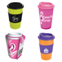 Travel tumbler mug with mix and match silicone band and sip lid