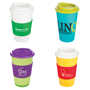 Branded travel mugs with company logo printed to the wrap around body, mix and match lids and silicone grips