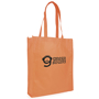 Large orange shopping bag with company logo printed to the front