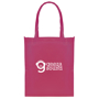 Magenta shopper tote bag made from non-woven lightweight material personalised with a print to the front
