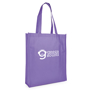 Promotional shopper in purple, printed with a logo