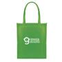 Green non woven shopping bag with long handles