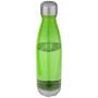 transparent green aqua sports bottle with a metal lid