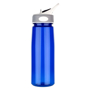 Aqua Water Bottle with grey and white lid and transparent blue body