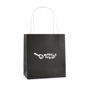 Ardville Small Paper Bag in black with white rope handle and 1 colour print logo