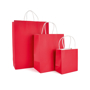Ardville Paper Bags in small, medium and large in red with whit rope handles