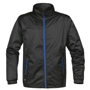 Axis Softshell Jacket in black with blue full zip and 2 zipped pockets