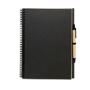 Bloquero Plus Notebook in black with black elastic pen loop and black and brown pen