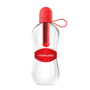 Promotional bobble bottle, in clear with red lid and branding panel grip