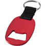 flat red flat blue keyring with one colour branding and a bottle opener to one side