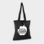 black long handled shopping bag with a logo printed to one side