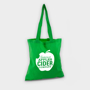 Green bag with long handles and logo printed in white