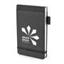 brooke jotter in black with black trim, elastic closure strap and pen loop and 1 colour print logo