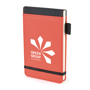 brooke jotter in red with black trim, elastic closure strap and pen loop and 1 colour print logo