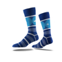 Business Crew Socks in blue with colour contrast stripes and full colour logo