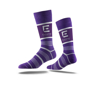 Business Crew Socks in purple with colour contrast stripes and full colour logo