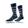 Business Crew Socks in navy with colour contrast stripes and full colour logo