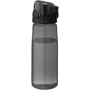 Transparent black sports bottle with black screw lid