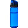 Transparent blue sports bottle with black screw lid