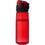 Transparent red sports bottle with black screw lid