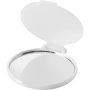 Carmen Mirror in white with plastic flip-top cover and transparent back