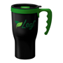 Promotional travel mug in black with green handle and lid trim