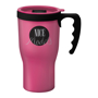 Pink 350ml travel mug with black handle and lid