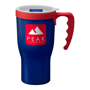 350ml Navy travel mug with red handle with company logo printed for advertising