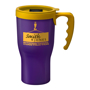 Branded 350ml travel mug in purple with yellow lid trim and handle