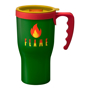 Tall green reusable coffee mug with red handle and lid trim