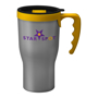 Tall travel mug in silver with mix and match lid and handle options