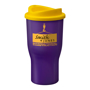 Large travel mug with purple body and yellow lid, printed on the side with company logo