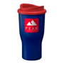 Tall travel drinks tumbler in navy blue with red lid, printed with a company logo on the side