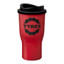 Tall red drinks tumbler with black sip lid, printed with a company logo