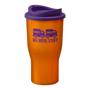 Orange travel mug with purple lid