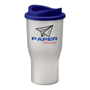 Reusable drinking tumbler in white with large printing area