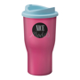 350ml pink travel mug with blue lid
