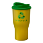 Yellow drinking tumbler with branding print area for a company logo