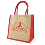 Branded jute bag with red gusset and handles printed with a company logo