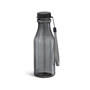 transparent black sports bottle with matching lid, cord strap