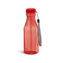 transparent red sports bottle with matching lid, cord strap