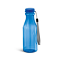 transparent blue sports bottle with matching lid, cord strap