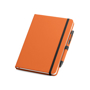 Imitation leather notebook in orange with black elastic closure strap and pen loop with colour patch pen