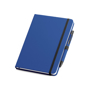 Imitation leather notebook in blue with black elastic closure strap and pen loop with colour patch pen